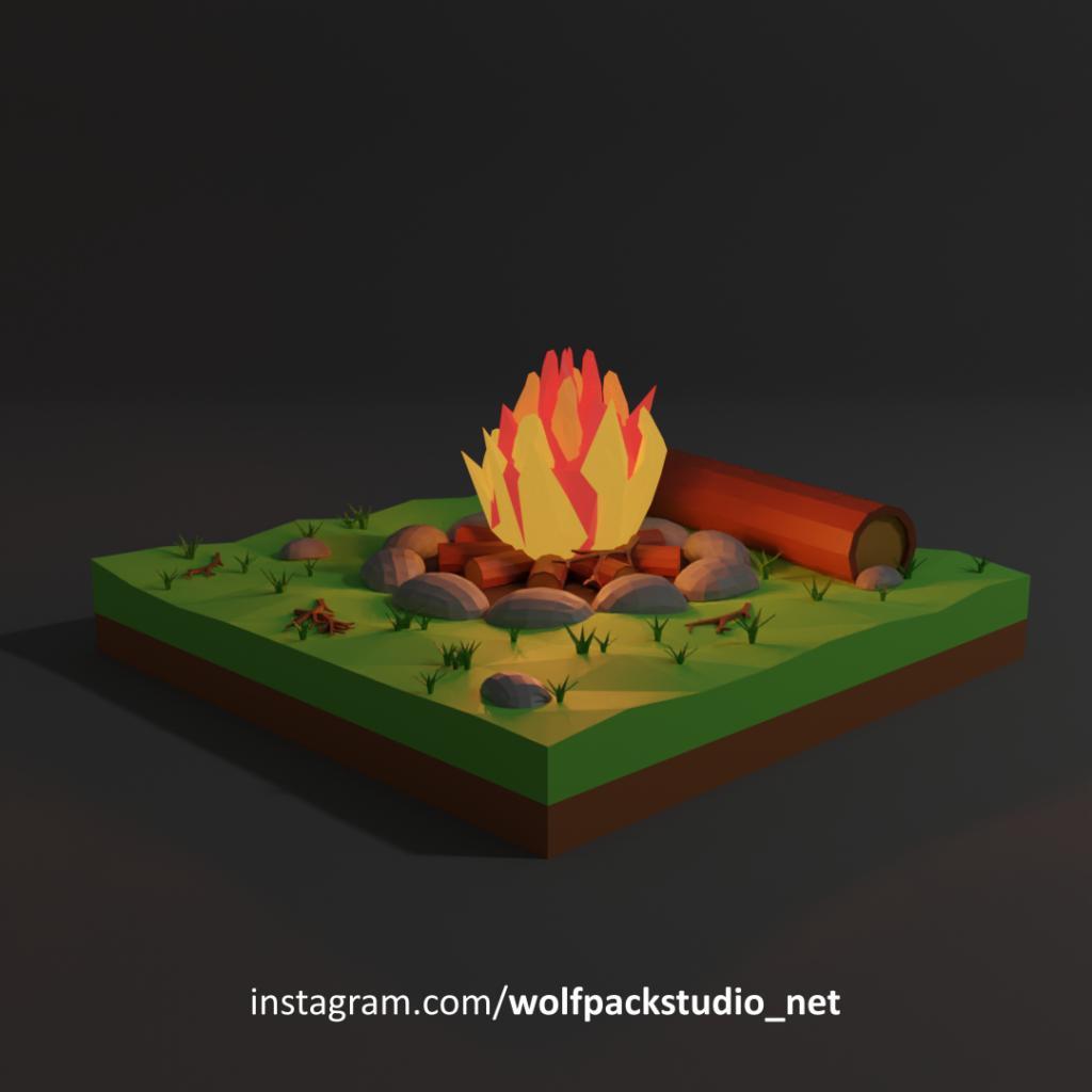 Camfire scene by night