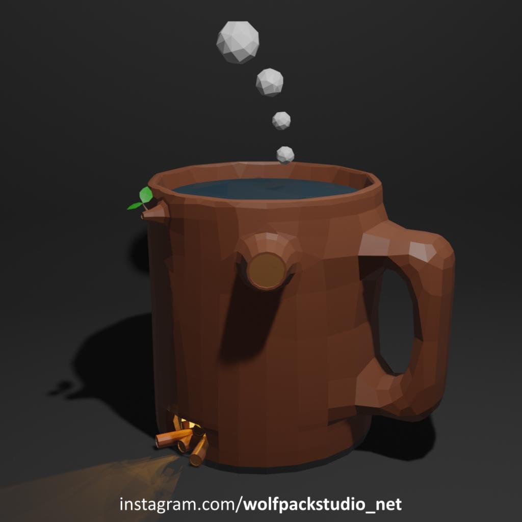 tea cup art in lowpoly